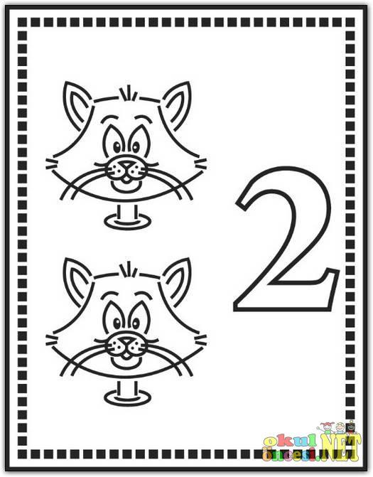 2 Rakamı Boyama Sayfası Okul öncesi Okul öncesi Etkinlikleri