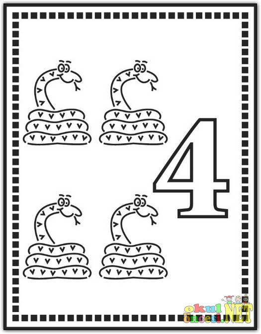 4 Rakami Boyama Sayfasi Okul Oncesi Okul Oncesi Etkinlikleri