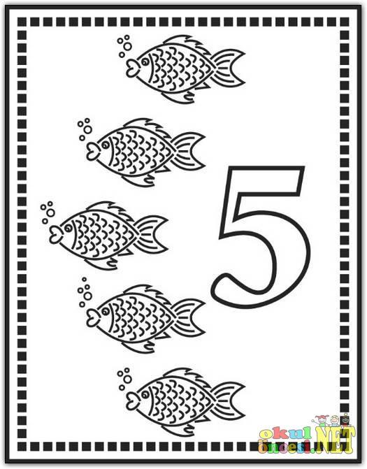 5 Rakamı Boyama Sayfası Okul öncesi Okul öncesi Etkinlikleri