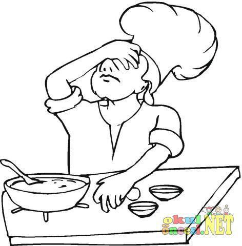 Aşçı Boyama Sayfası Okul öncesi Okul öncesi Etkinlikleri Ana Okulu