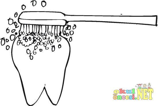 Fırçayla Diş Boyama Sayfası Okul öncesi Okul öncesi Etkinlikleri