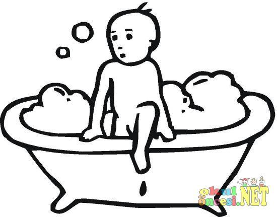 Banyo Yapan çocuk Resmini Boyayalım Okul öncesi Okul öncesi