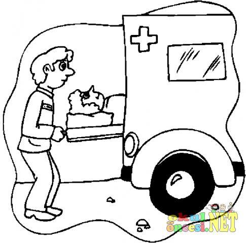 Ambulans Resmini Boyama Sayfası Okul öncesi Okul öncesi