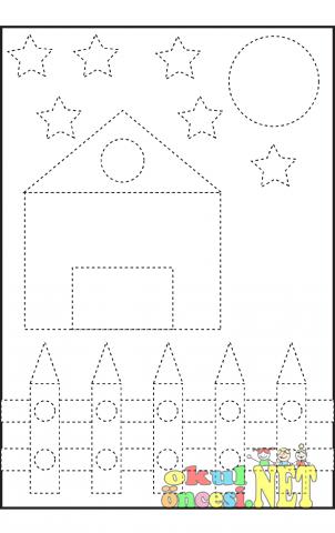 Ev Resminin çizgilerini Tamamla Boya Okul öncesi Okul öncesi