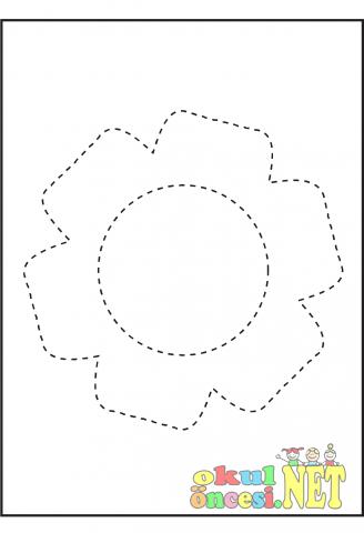 çiçek Resminin çizgilerini Tamamla Boya Okul öncesi Okul öncesi
