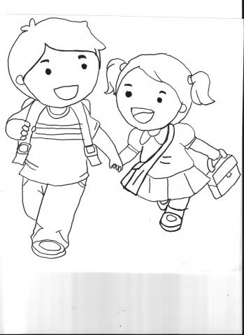Okula Giden çocuklar Boyama Okul öncesi Okul öncesi Etkinlikleri