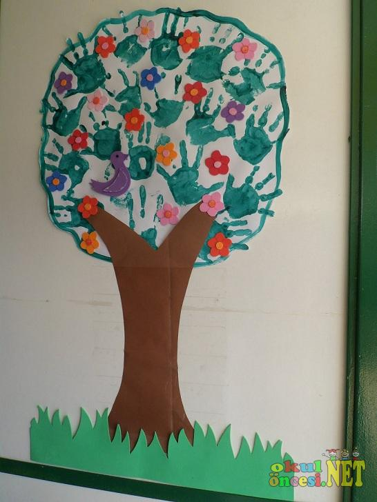 El Baskısından Ilkbahar Ağacı Okul öncesi Okul öncesi