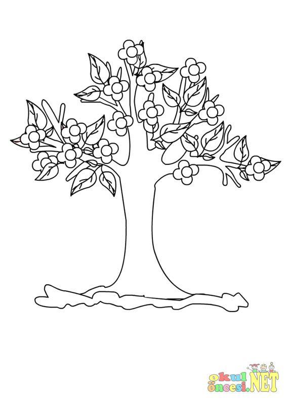 Ilkbahar Ağacı Boyama Okul öncesi Okul öncesi