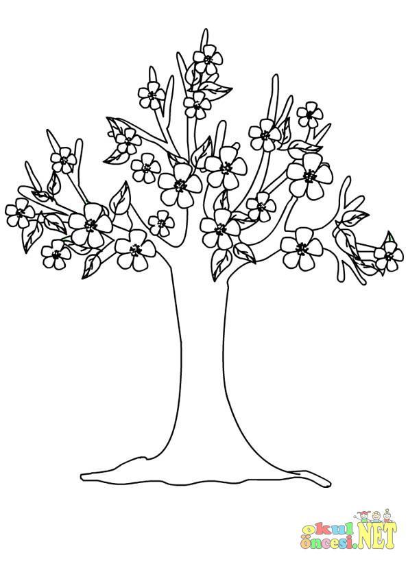 Ilkbahar Ağacı Boyama Okul öncesi Okul öncesi Etkinlikleri Ana