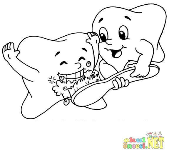 Dişler Boyama Okul öncesi Okul öncesi Etkinlikleri Ana Okulu