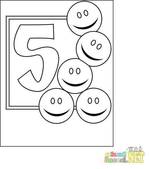 5 Rakami Boyama Okul Oncesi Okul Oncesi Etkinlikleri Ana Okulu