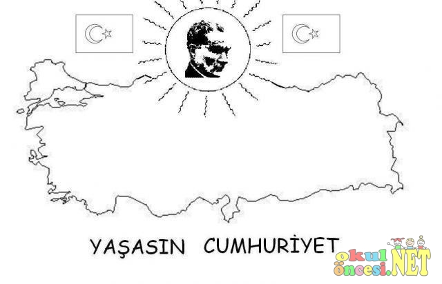 Ataturk Ile Ilgili Boyama Sayfalari Okul Oncesi Okul Oncesi