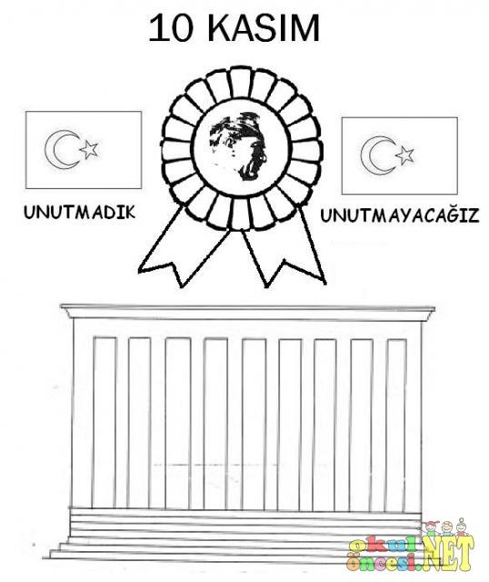 10 Kasım Anıtkabir Ve Atatürk Boyama Sayfası Okul öncesi Okul