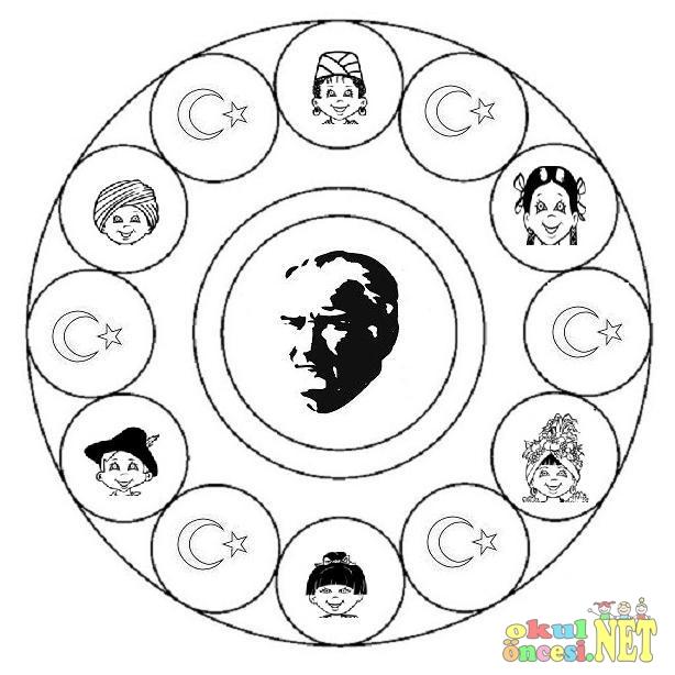 Ataturk Ve Dunya Cocuklari Mandalasi Okul Oncesi Okul Oncesi