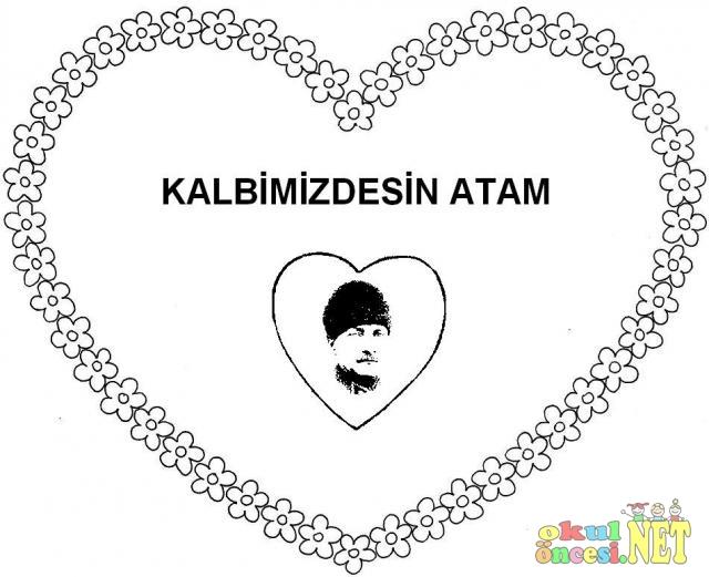 10 Kasim Icin Kalpli Ataturk Boyama Sayfasi Okul Oncesi Okul