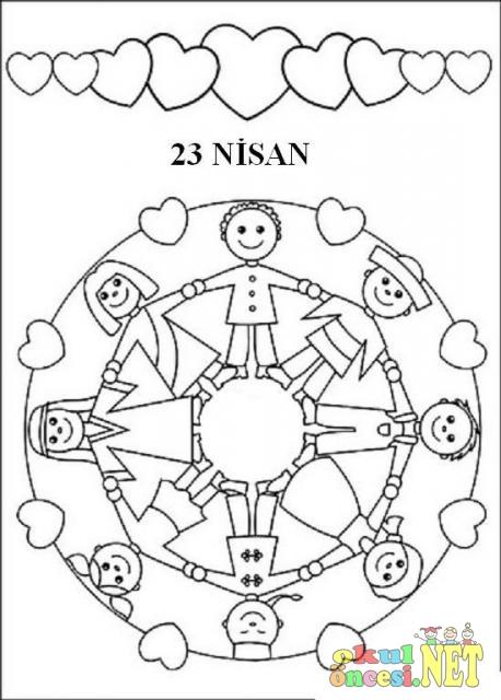 23 Nisan Icin Boyama Sayfasi Okul Oncesi Okul Oncesi