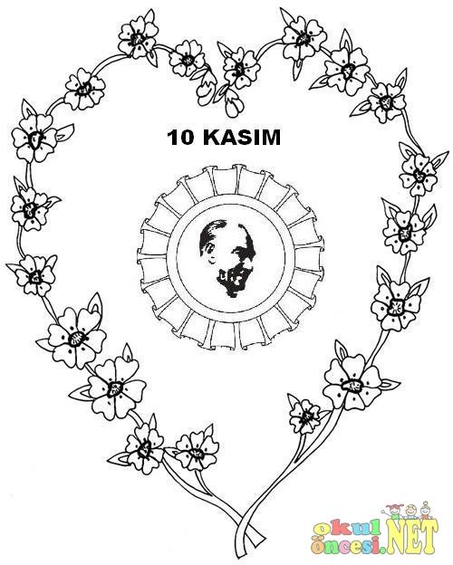10 Kasım Için Atatürk Boyama Sayfası Okul öncesi Okul öncesi