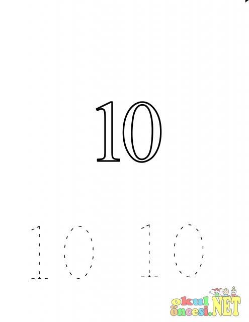 10 Rakami Ile Ilgili Calisma Sayfalari Okul Oncesi Okul Oncesi