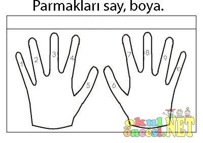 Parmakları Say Ve Boya Okul öncesi Okul öncesi Etkinlikleri