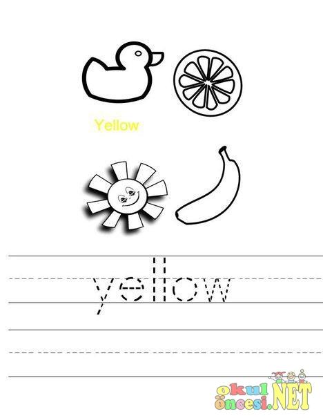 Yellow Sari Renk Ingilizce Boyama Sayfasi Okul Oncesi Okul