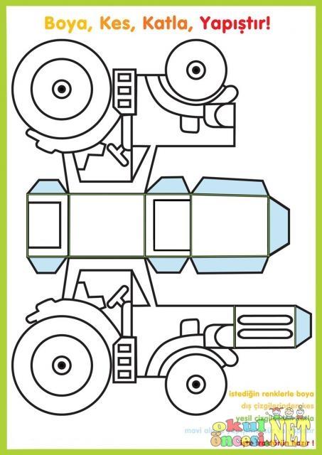 Boya Kes Katla Yapistir Traktor Okul Oncesi Okul Oncesi