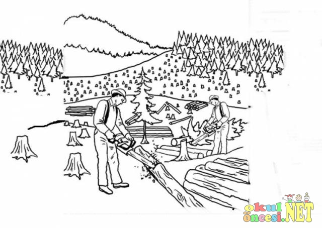 Bilinçsiz Ağaç Kesimi Ile Ilgili Boyama Sayfası Okul öncesi Okul