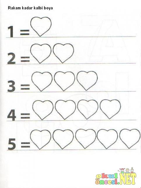 Rakam Kadar Kalbi Boya Okul öncesi Okul öncesi Etkinlikleri