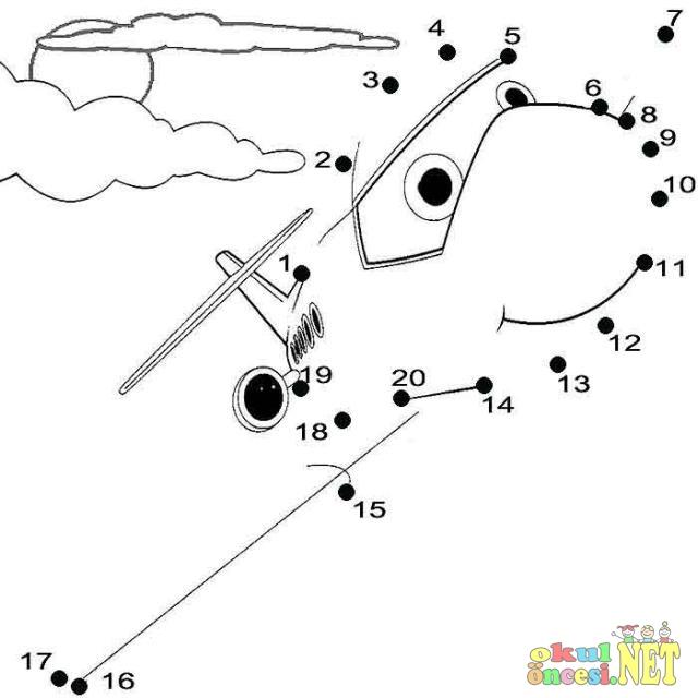 Uçak Sayı Birleştirme çalışması Okul öncesi Okul öncesi