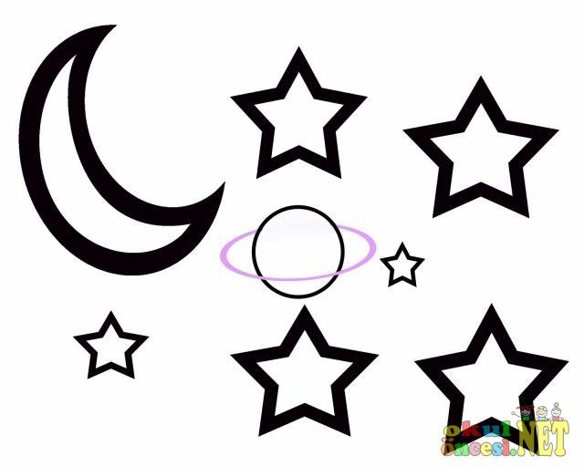 Uzay Boyama Ay Yıldızlar Gezegen Okul öncesi Okul öncesi