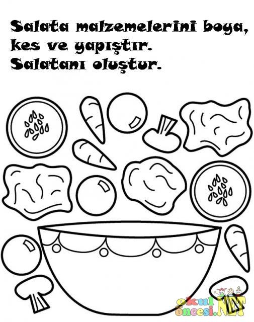 Kes Boya Yapıştır Salatanı Oluştur Okul öncesi Okul öncesi