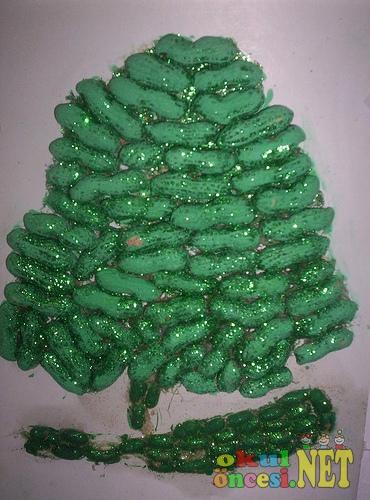 Fıstık Kabuklarından Ağaç Okul öncesi Okul öncesi Etkinlikleri