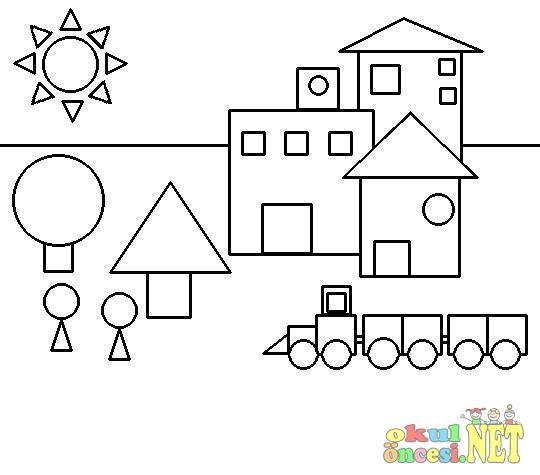 Geometrik şekillerden Boyamalar Okul öncesi Okul öncesi