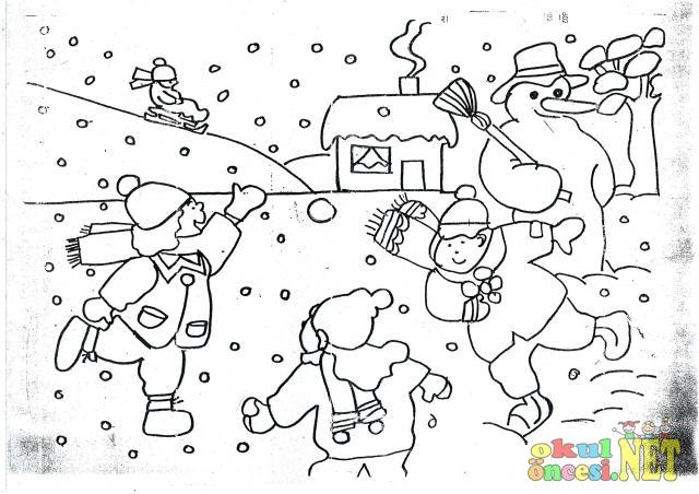 Kış Mevsimi Boyama Sayfası Okul öncesi Okul öncesi Etkinlikleri