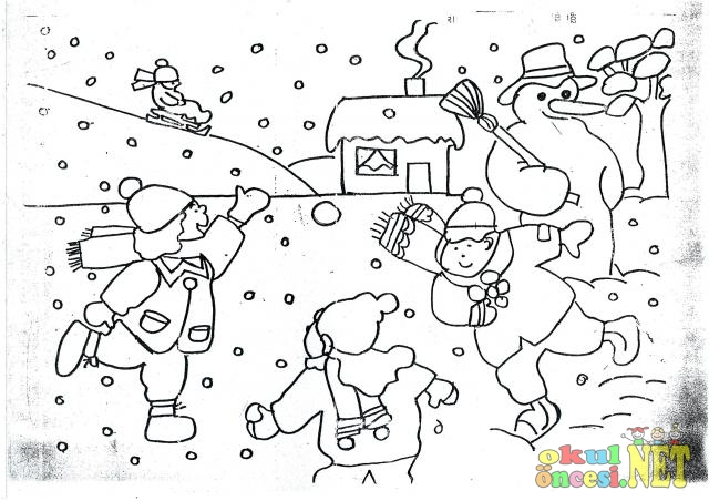 Kar Topu Oynayan çocuklar Boyama Sayfası Okul öncesi Okul