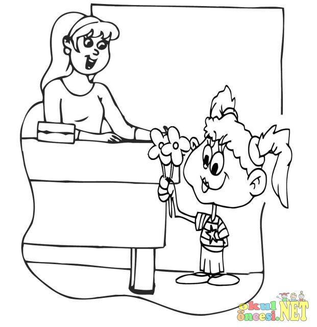 öğretmenler Günü Için Boyama Sayfası Okul öncesi Okul öncesi