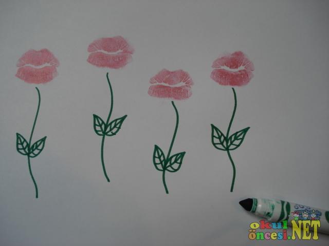 Ruj çiçekler Baskı çalışması Okul öncesi Okul öncesi