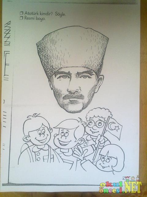 Atatürk Ve çocuk Boyama