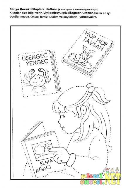 Dunya Cocuk Kitaplari Haftasi Cizgi Calismasi Boyama Okul