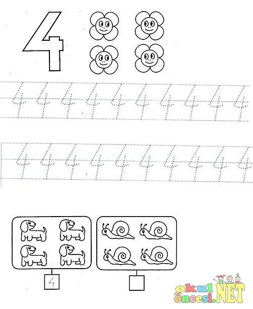 4 Rakami Calisma Sayfasi Okuloncesitr Preschool
