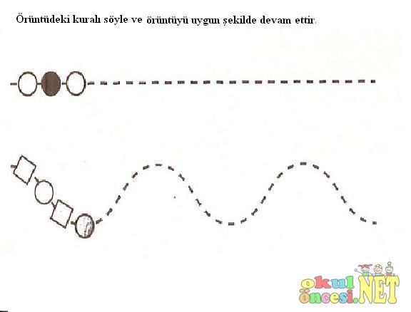 Geometrik şekillerle örüntü çalışması Okul öncesi Okul öncesi
