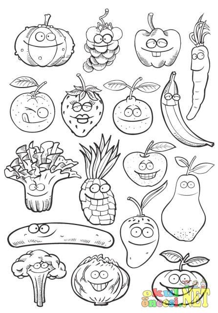 Sevimli Meyveler Sebzeler El Ele Boyama Okul öncesi Okul