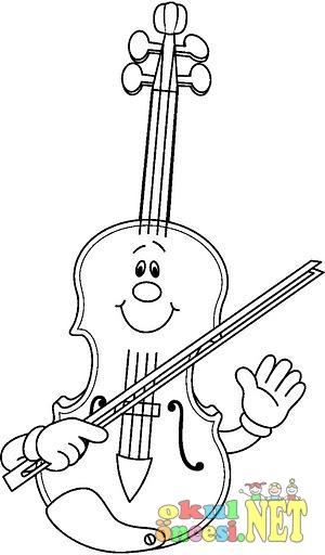 Müzik Aletleri Boyama Sayfası Okul öncesi Okul öncesi