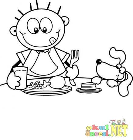 Akşam Yemeği Boyama Okul öncesi Okul öncesi Etkinlikleri Ana