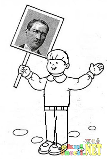 Atatürk Pankartı Taşıyan çocuk Boyama Okul öncesi Okul öncesi