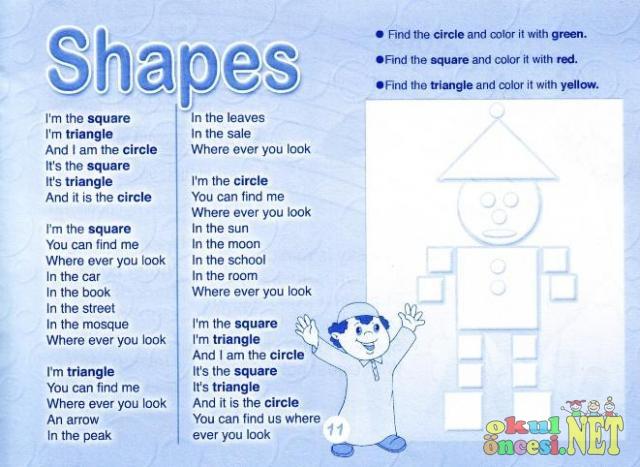Shapes Renkli çalışma Sayfası Okul öncesi Okul öncesi