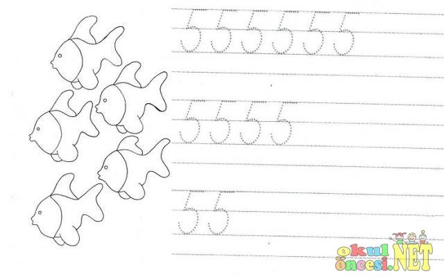 5 Rakamı çalışma Sayfaları Okul öncesi Okul öncesi Etkinlikleri