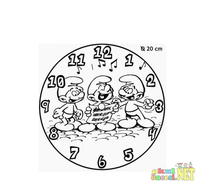 şirinler Saat Boyama Okul öncesi Okul öncesi Etkinlikleri Ana