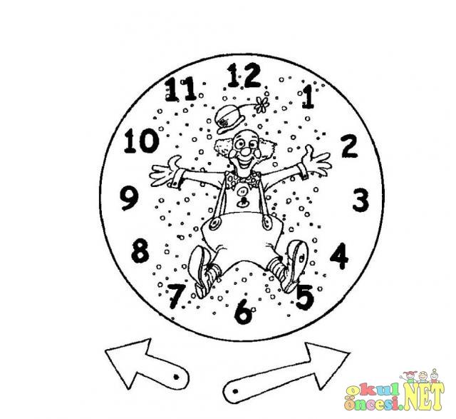 Palyaço Saat Boyama Sayfası Kalıp Okul öncesi Okul öncesi
