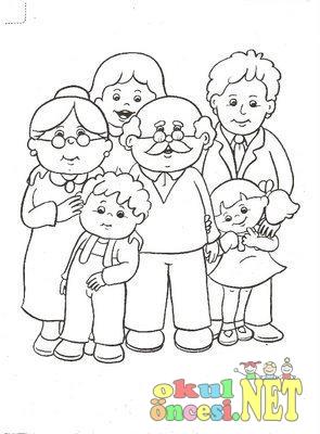 Aile Ile Ilgili Boyama Sayfalari Okul Oncesi Okul Oncesi