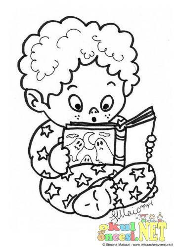 Kitap Okuyan çocuk Boyamaları Okul öncesi Okul öncesi